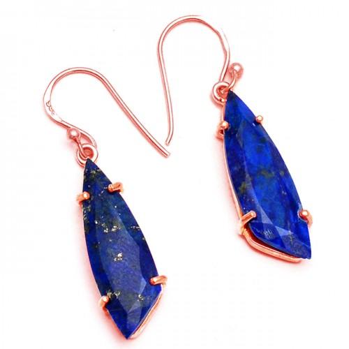 Fancy Shape Lapis Lazuli Gemstone 925 Sterling Silver Handmade Earrings