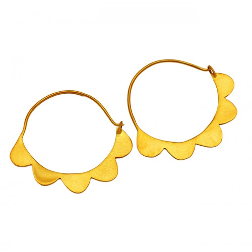 Handmade Unique Designer Plain 925 Sterling Silver Gold Plated Hoop Earrings