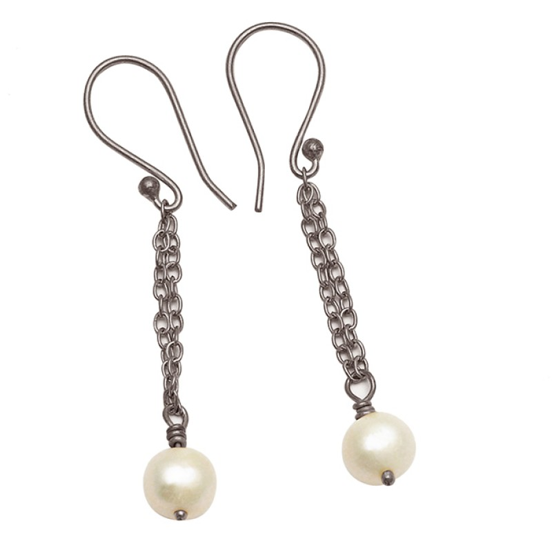 Cabochon Round Balls Gemstone Handmade Hanging Chain Dangle Earrings