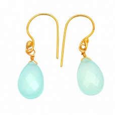 Pear Drops Shape Aqua Chalcedony Gemstone 925 Sterling Silver Gold Plated Earrings