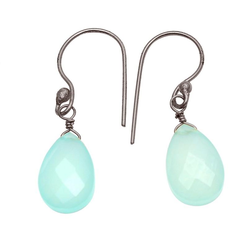 Pear Drops Shape Aqua Chalcedony Gemstone 925 Sterling Silver Gold Plated Earrings