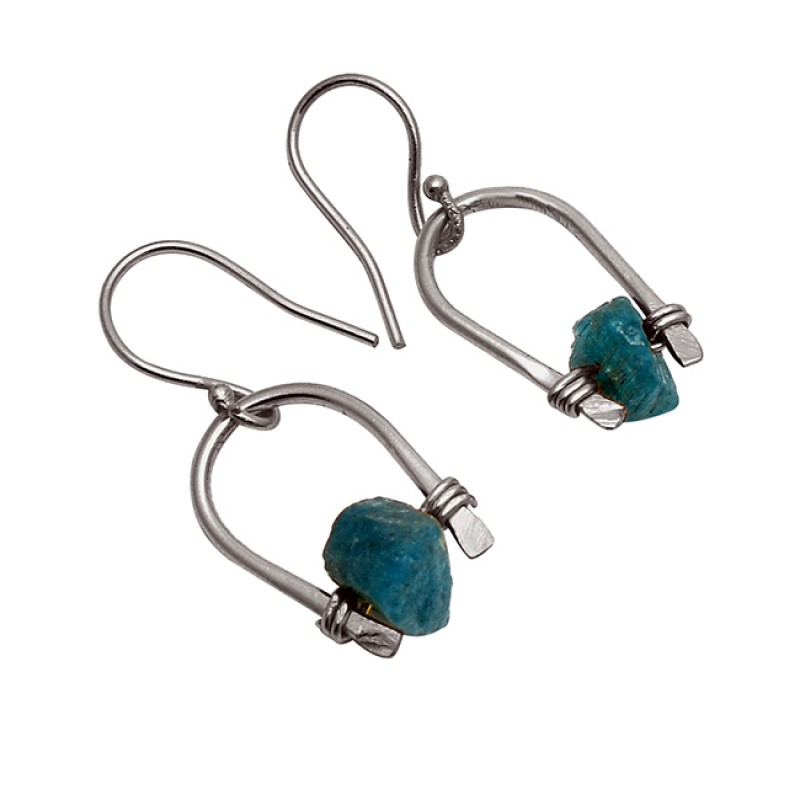 Raw Material Apatite Rough Gemstone 925 Sterling Silver Gold Plated DesignerEarrings
