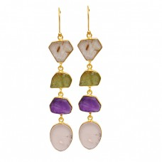 Fancy Shape Peridot Amethyst Rose Quartz Golden Rutile Gemstone Gold Plated Earrings