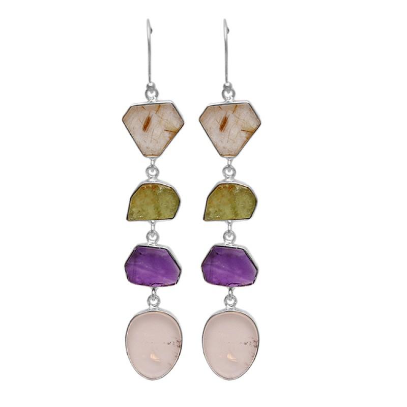 Fancy Shape Peridot Amethyst Rose Quartz Golden Rutile Gemstone Gold Plated Earrings