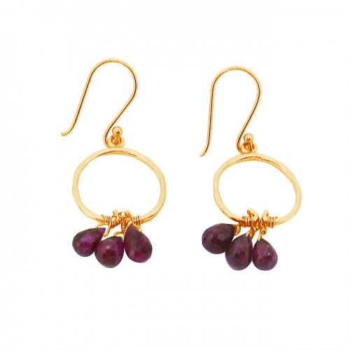 Faceted Pear Drops Ruby Gemstone 925 Sterling Silver Gold Plated Dangle Earrings
