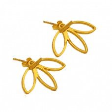 Flower Shape Designer Plain 925 Sterling Silver Gold Plated Stud Earrings