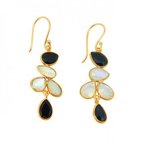 Black Onyx Rainbow Moonstone Pear Shape Gemstone Gold Plated Handmade Earrings