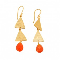 Carnelian Briolette Pear Shape Gemstone 925 Sterling Silver Gold Plated Earrings