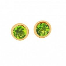 Round Shape Peridot Gemstone 925 Sterling Silver Gold Plated Stud Earrings