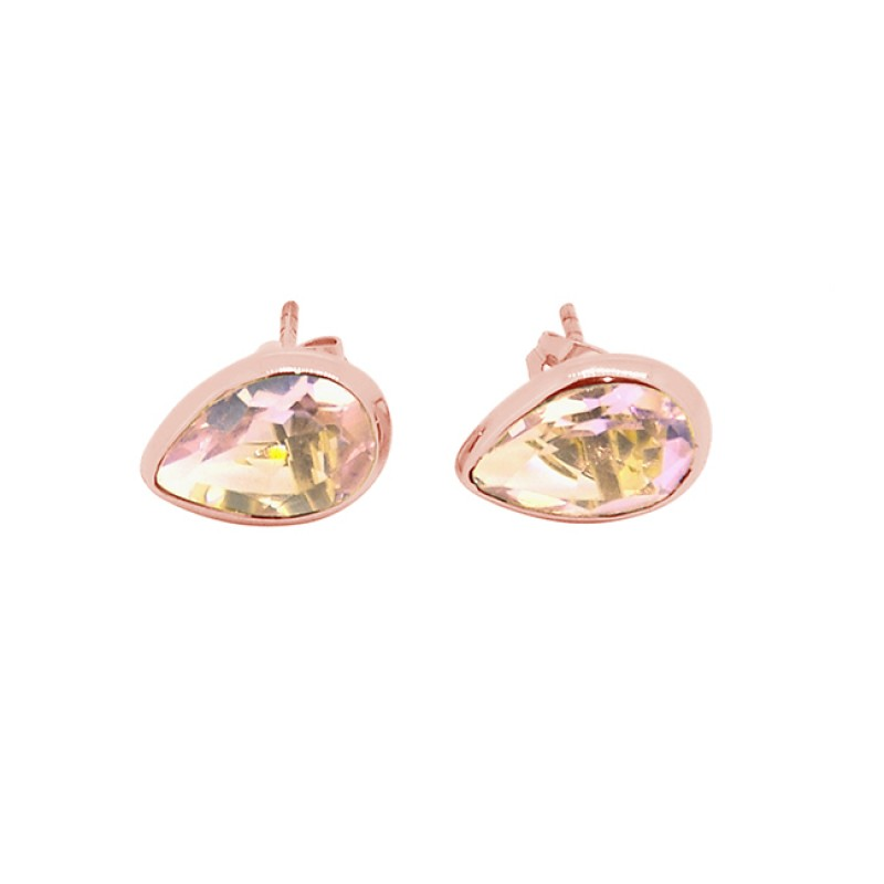 Pear Shape Pink Quartz Gemstone 925 Sterling Silver Gold Plated Stud Earrings