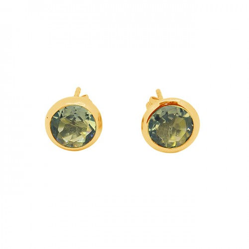 Smoky Quartz Round Shape Gemstone 925 Sterling Silver Gold Plated Stud Earrings