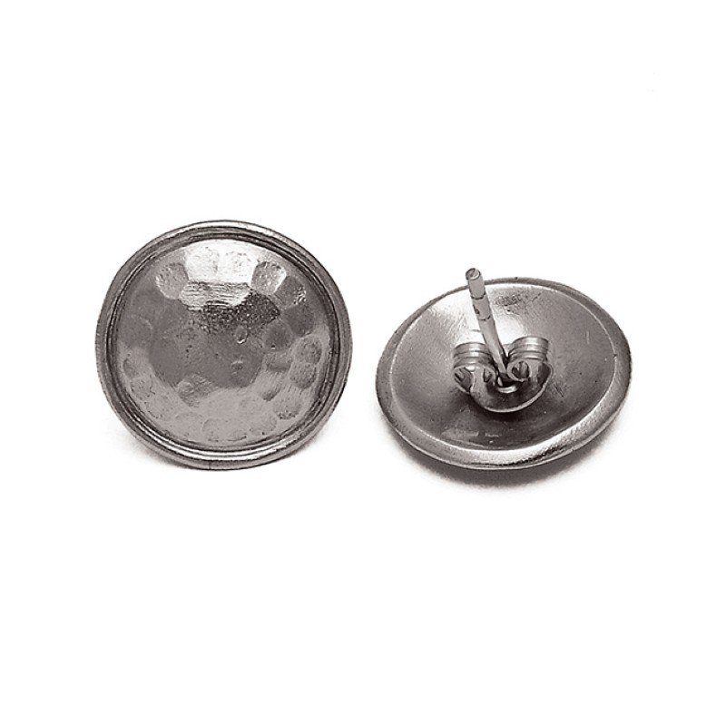Designer Hammered Plain 925 Sterling Silver Gold Plated Handmade Stud Earrings
