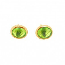 Oval Shape Peridot Gemstone 925 Sterling Silver Gold Plated Stud Earrings