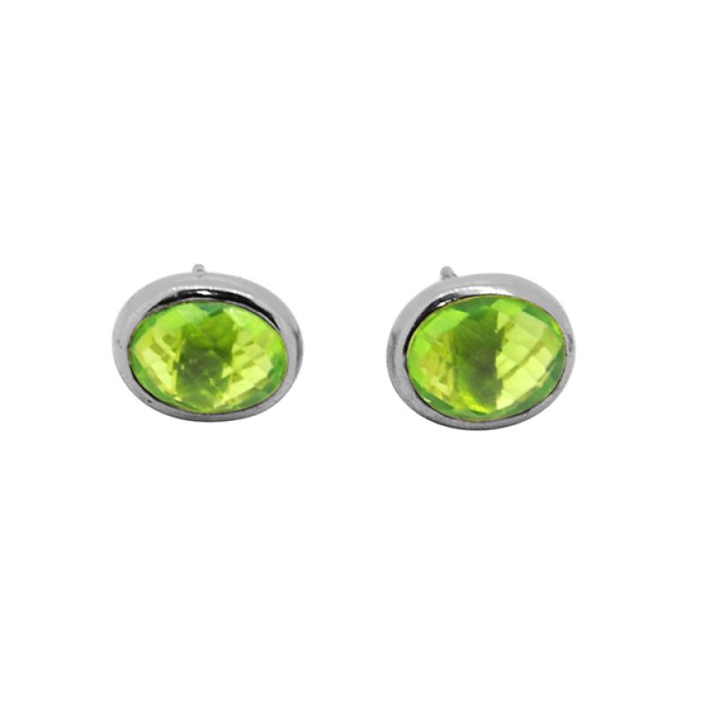 Oval Shape Peridot Gemstone 925 Sterling Silver Gold Plated Stud Earrings