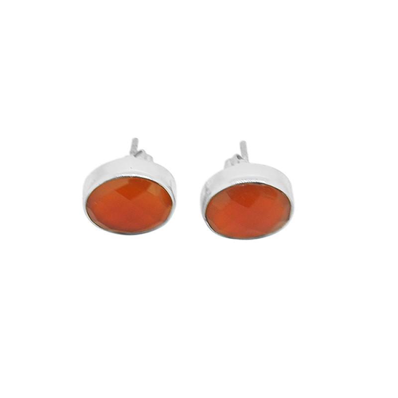 Carnelian Oval Shape Gemstone 925 Sterling Silver Gold Plated Stud Earrings