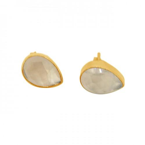 Rose Quartz Pear Shape Gemstone 925 Sterling Silver Gold Plated Stud Earrings