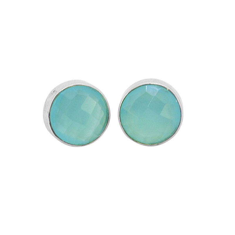 Aqua Chalcedony Round Shape Gemstone 925 Sterling Silver Gold Plated Stud Earrings