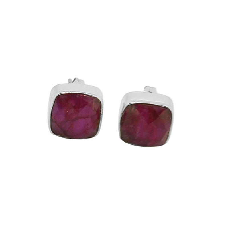 Cushion Shape Ruby Gemstone 925 Sterling Silver Gold Plated Stud Earrings