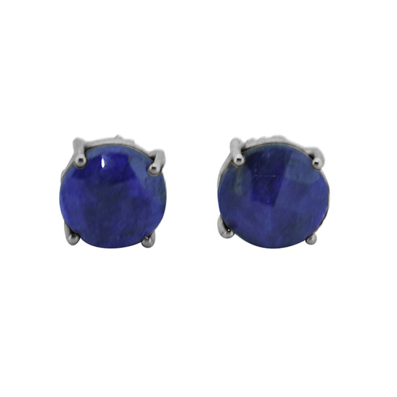Lapis Lazuli Round Shape Gemstone 925 Sterling Silver Gold Plated Stud Earrings
