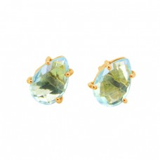Blue Topaz Pear Shape Gemstone 925 Sterling Silver Gold Plated Stud Earrings