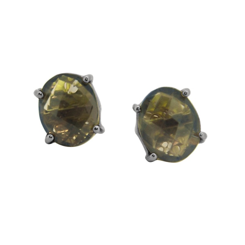 925 Sterling Silver Oval Shape Smoky Quartz Gemstone Gold Plated Stud Earrings