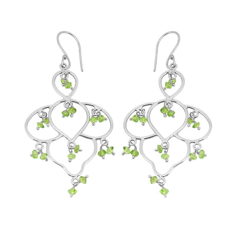 Faceted Rondelle Beads Peridot Gemstone 925 Sterling Silver Gold Plated Dangle Earrings