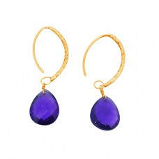 Purple Amethyst Briolette Pear Gemstone Gold Plated Dangle Hoop Earrings