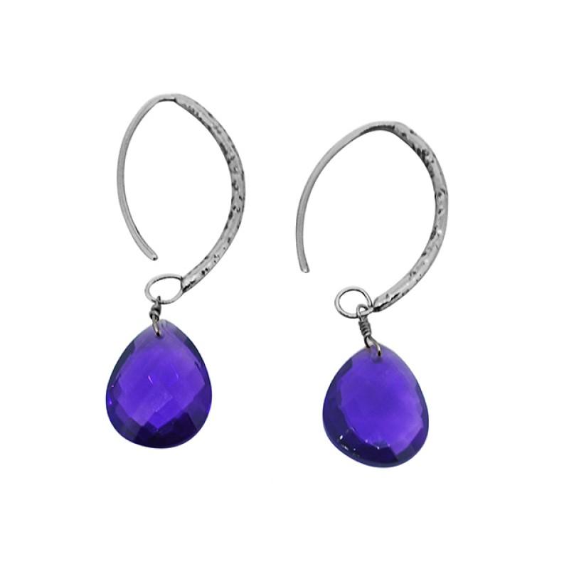 Purple Amethyst Briolette Pear Gemstone Gold Plated Dangle Hoop Earrings