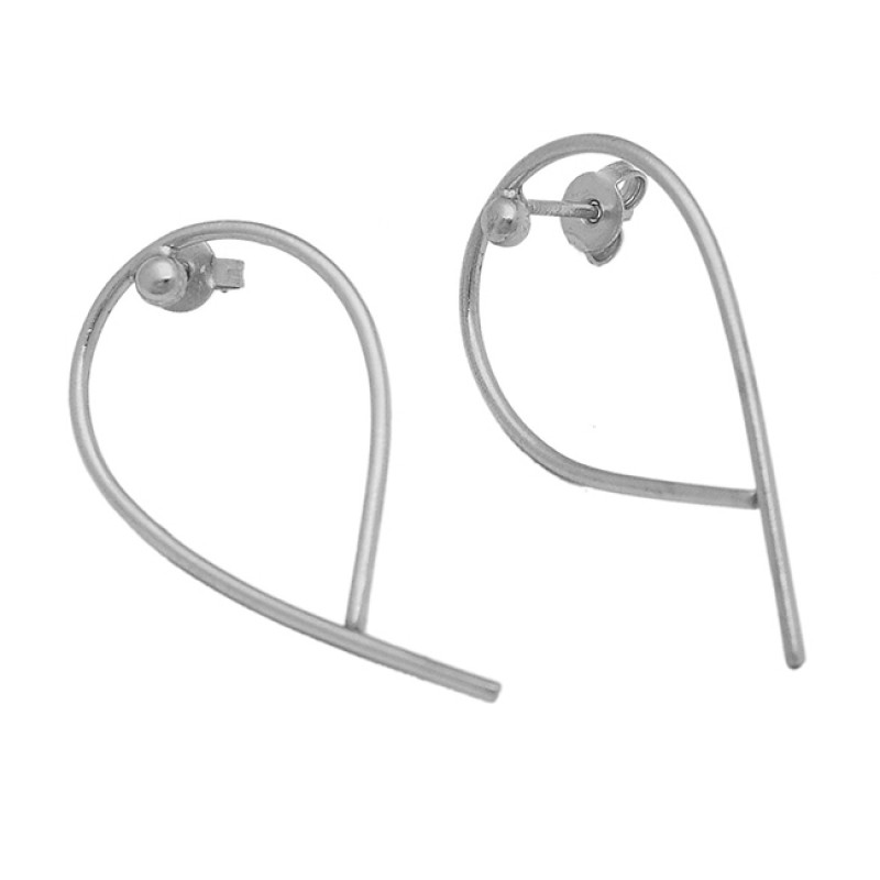 Stylish Handcrafted Designer Plain 925 Sterling Silver Gold Plated Stud Earrings