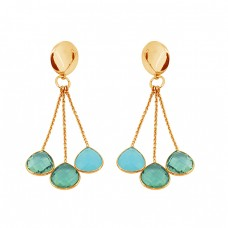 Briolette Heart Shape Chalcedony Apatite Gemstone Gold Plated Chain Dangle Earrings