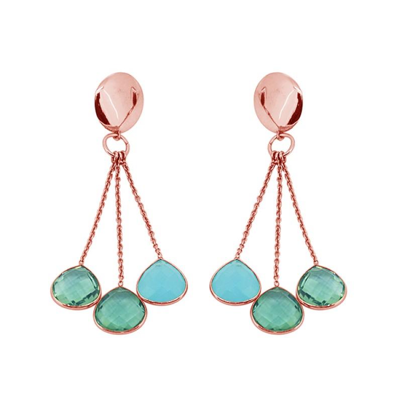 Briolette Heart Shape Chalcedony Apatite Gemstone Gold Plated Chain Dangle Earrings