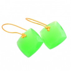 Cushion Shape Green Quartz Gemstone 925 Sterling Silver Gold Plated Earrings