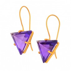 Triangle Shape Amethyst Gemstone 925 Sterling Silver Gold Plated Fixed Ear Wire Earrings