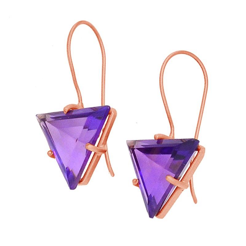 Triangle Shape Amethyst Gemstone 925 Sterling Silver Gold Plated Fixed Ear Wire Earrings