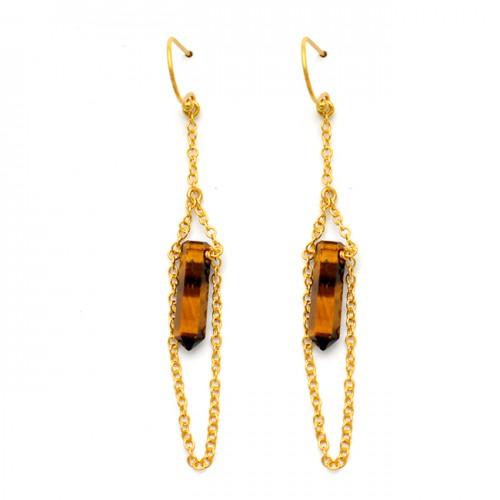 Tiger Eye Pencil Shape Gemstone 925 Sterling Silver Gold Plated Dangle Earrings