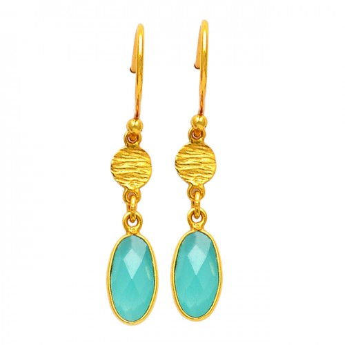 Aqua Chalcedony Oval Shape Gemstone 925 Sterling Silver Gold Plated Dangle Earrings