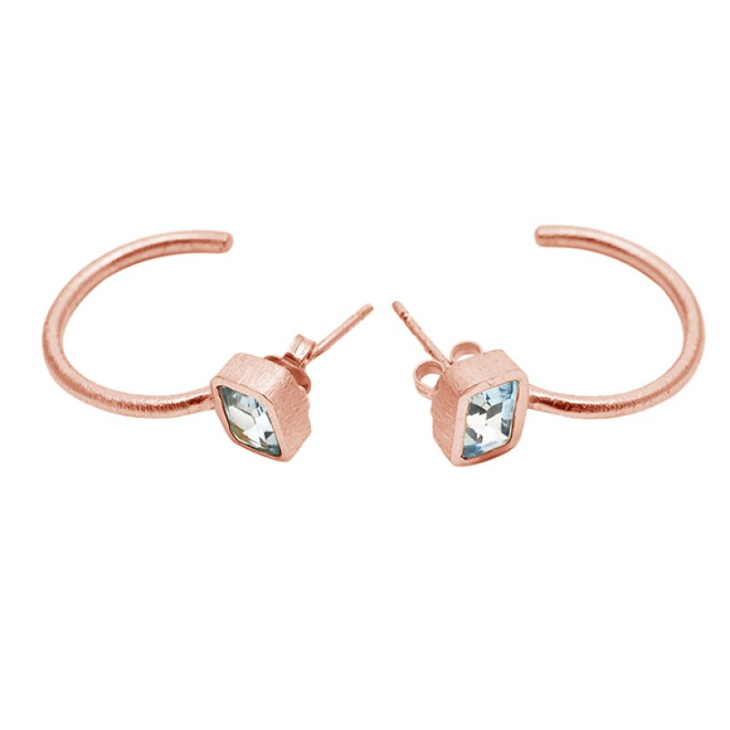 Blue Topaz Octagon Shape Gemstone 925 Sterling Silver Gold Plated Stud Earrings