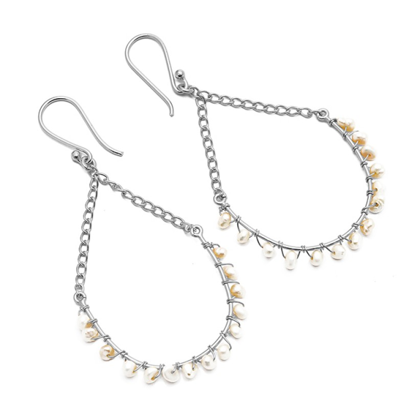 Designer Roundel Beads Pearl Gemstone Hanging Chain 925 Silver Gold Plated Dangle Earrrings