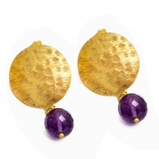 925 Silver Faceted Balls Amethyst Gemstone Gold Plated Hammered Designer Earrings