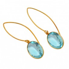 925 Sterling Silver Faceted Oval Shape Topaz Gemstone Gold Plated Hoop Earrings