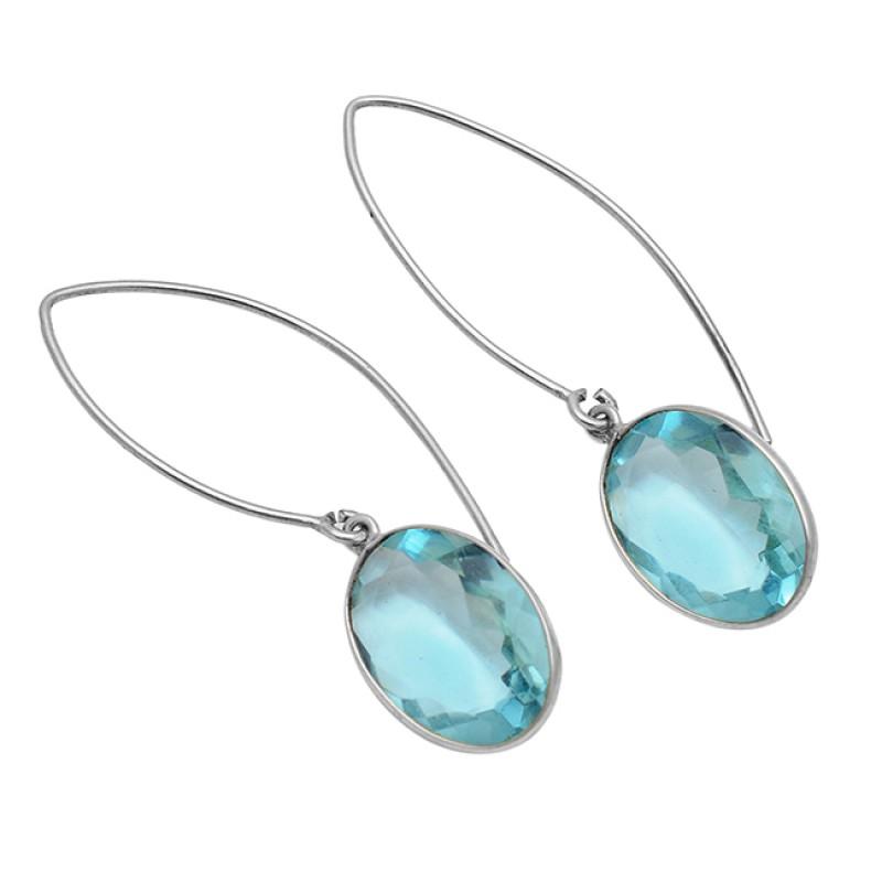 925 Sterling Silver Faceted Oval Shape Topaz Gemstone Gold Plated Hoop Earrings
