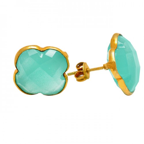Carved Flower Shape Chalcedony Gemstone 925 Sterling Silver Gold Plated Stud Earrings