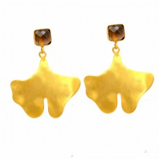 Smoky Quartz Cushion Shape Gemstone Handcrafted Designer Gold Plated Earrings