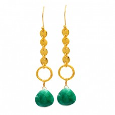 Emerald Briolette Heart Shape Gemstone Handmade Gold Plated Dangle Earrings
