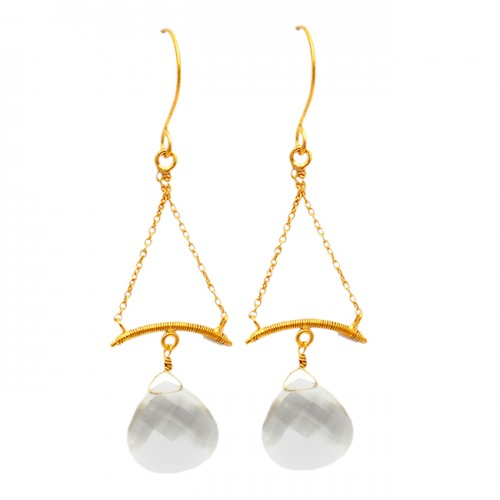 Heart Shape Briolette Crystal Gemstone 925 Sterling Silver Gold Plated Dangle Earrings