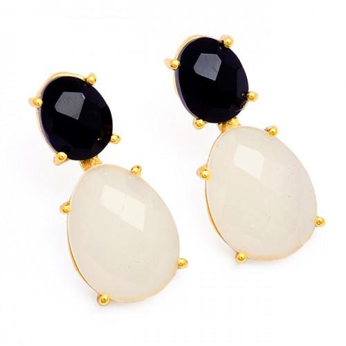 Black Onyx Rainbow Moonstone 925 Sterling Silver Gold Plated Stud Earrings