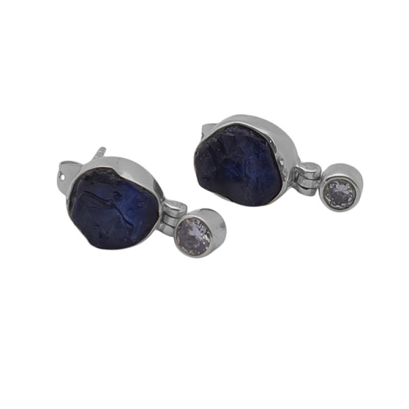 Sapphire Cz Gemstone 925 Sterling Silver Jewelry Gold Plated Stud Earrings