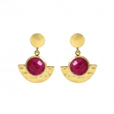 925 Sterling Silver Jewelry  Round  Shape Ruby  Gemstone Gold Plated Earrings