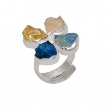 Raw Material Multi Color Rough Gemstone 925 Sterling Silver Adjustable Ring Jewelry