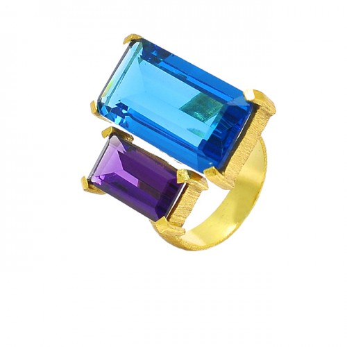 Amethyst Blue Topaz Rectangle Shape Gemstone Prong Setting Gold Plated Ring Jewelry
